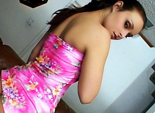 Daniella Rush in flower dress